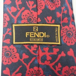 "FENDI MENS TIE 57"" x 3 3/4"" RED BLACK BLUE FLORAL"